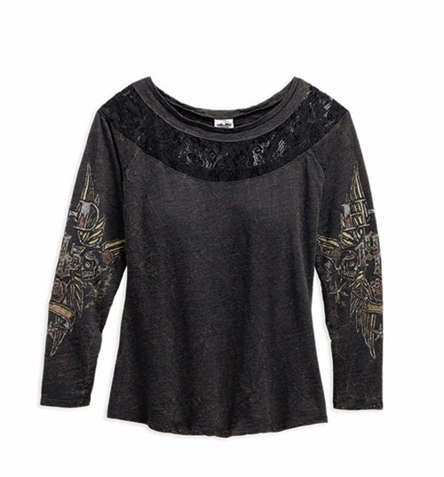 Women's Black Lace Inset Top