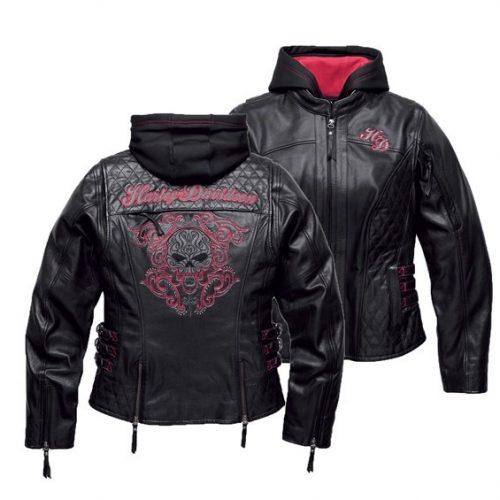 Women's Black Scroll Skull 3-in-1 Leather Jacket