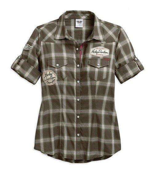 Women's Plaid Multi-Patch Plaid Shirt